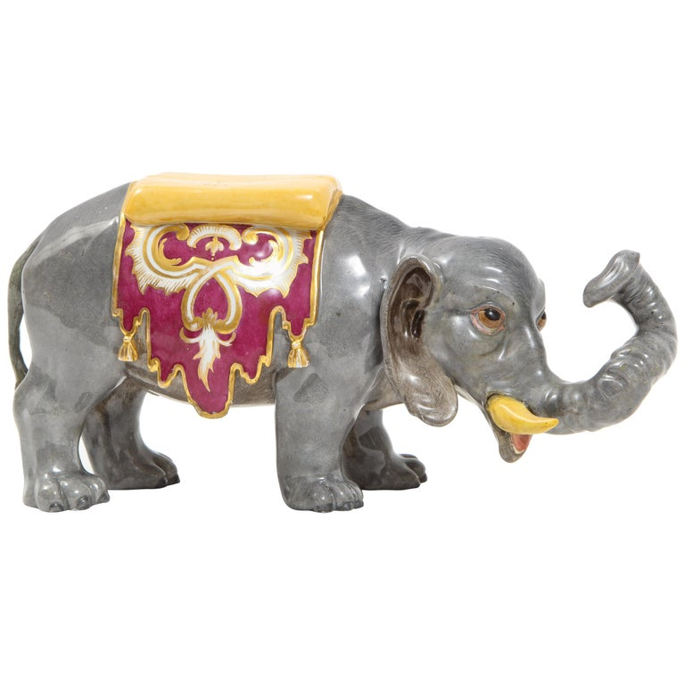 Fine Hand-Painted Meissen Porcelain Model of an Indian Elephant with a Saddle For Sale