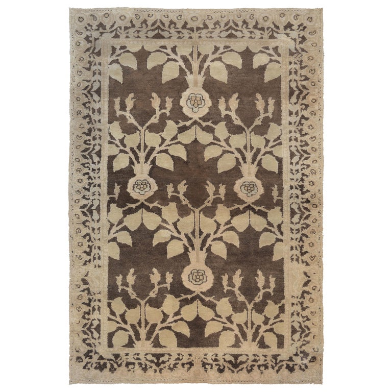 Fine Handwoven Arts & Crafts Voysey Rug For Sale