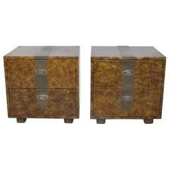 Fine Henredon Lacquered Faux Tortoise Shell Patinated Brass Nightstands, 1970s