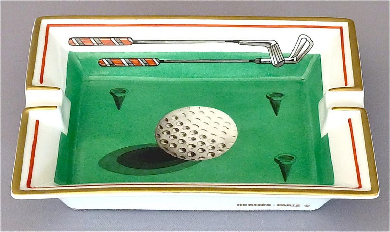 French Fine Hermes Paris Porcelain Ashtray Golf Motif Gilt Green Red Fornasetti Style For Sale