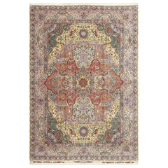 Fine Hunting Vintage Tabriz Persian Rug. Size: 9 ft 8 in x 14 ft