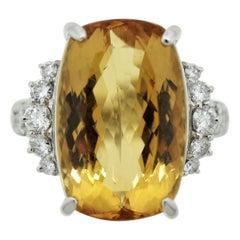 Fine Imperial Topaz Diamond Platinum Cocktail Ring