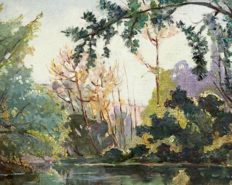 Fine impressionistic painting, oil on canvas, unclear signature, in original frame Measures: H. 21 W. 26 cm. H. 8.2 W. 10.2 in.