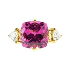 Fine Intense Pink Tourmaline and Diamond Ring