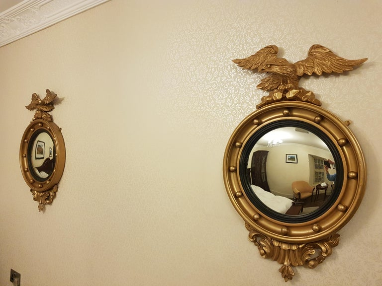 Giltwood Fine Irish Pair of 19th Century Gilt Convex Mirrors For Sale