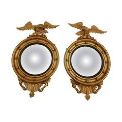 Fine Irish Pair of 19th Century Gilt Convex Mirrors