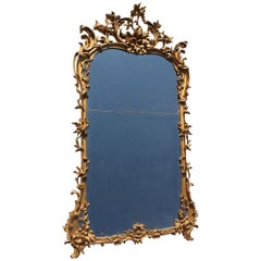 Fine Italian 18th Century Rococo Style Florentine Giltwood Carved Mirror Frame