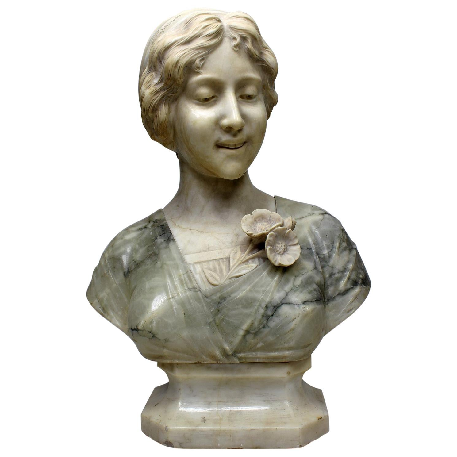 Fine Italian 19th-20th Century Carved Two-Color Alabaster Bust of a Young Beauty