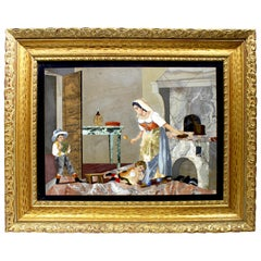 "Fine Italian 19th-20th Century Pietra Dura Plaque ""Mother Cooking for Children"""