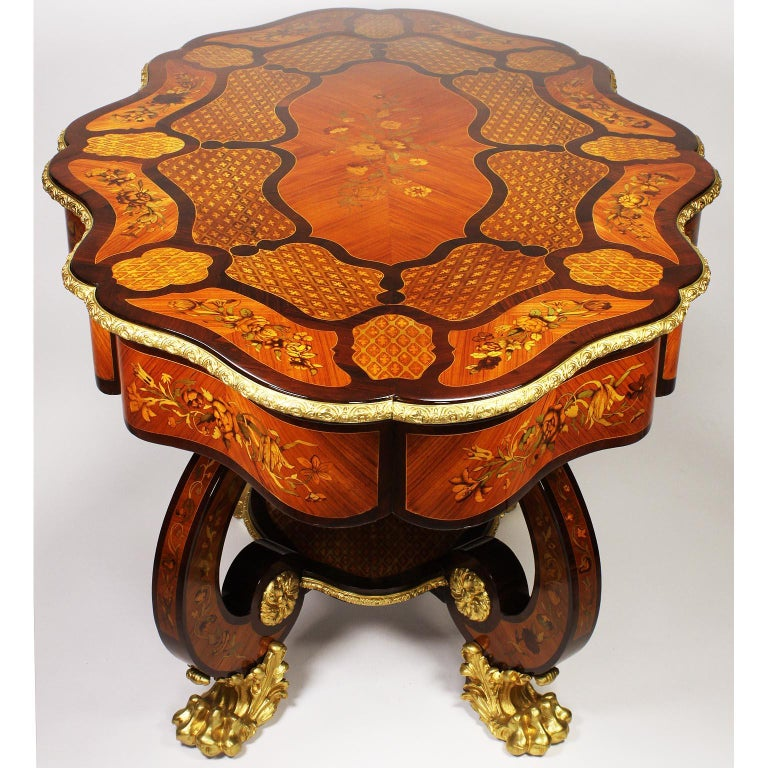 Fine Italian 19th Century Floral Marquetry Gilt Bronze-Mounted Center Table Desk For Sale 6