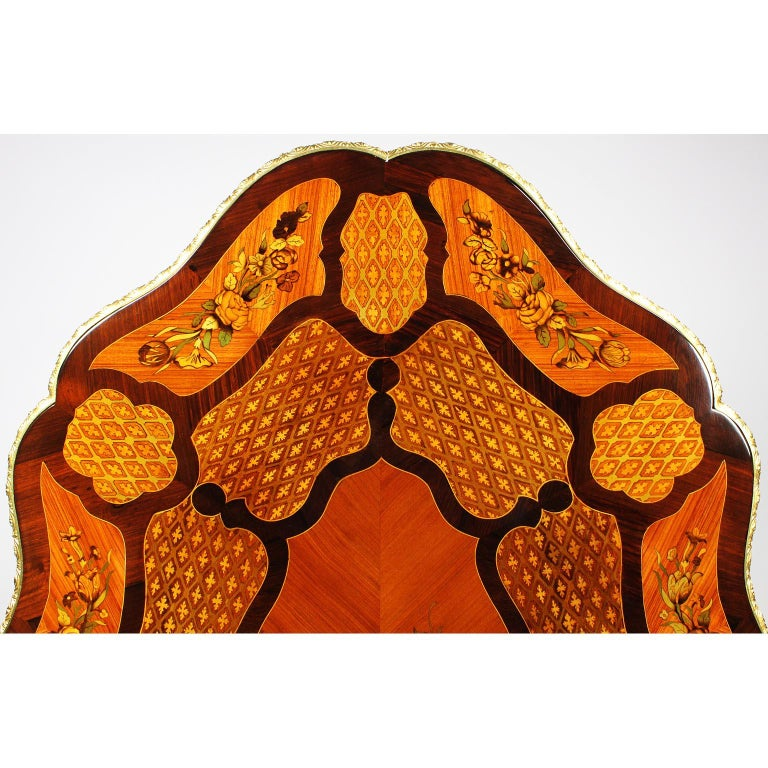 Fine Italian 19th Century Floral Marquetry Gilt Bronze-Mounted Center Table Desk For Sale 10