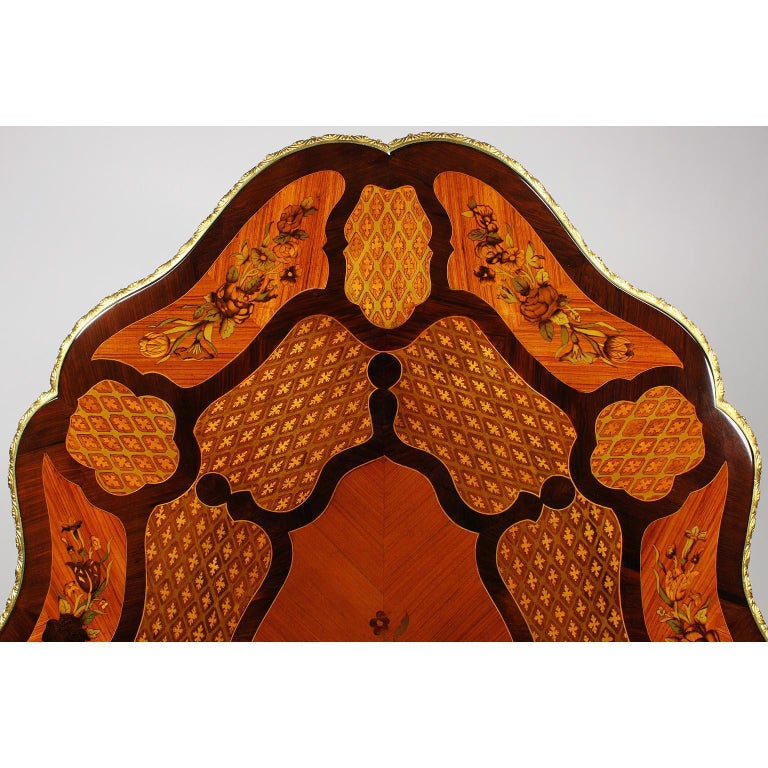 Fine Italian 19th Century Floral Marquetry Gilt Bronze-Mounted Center Table Desk For Sale 11
