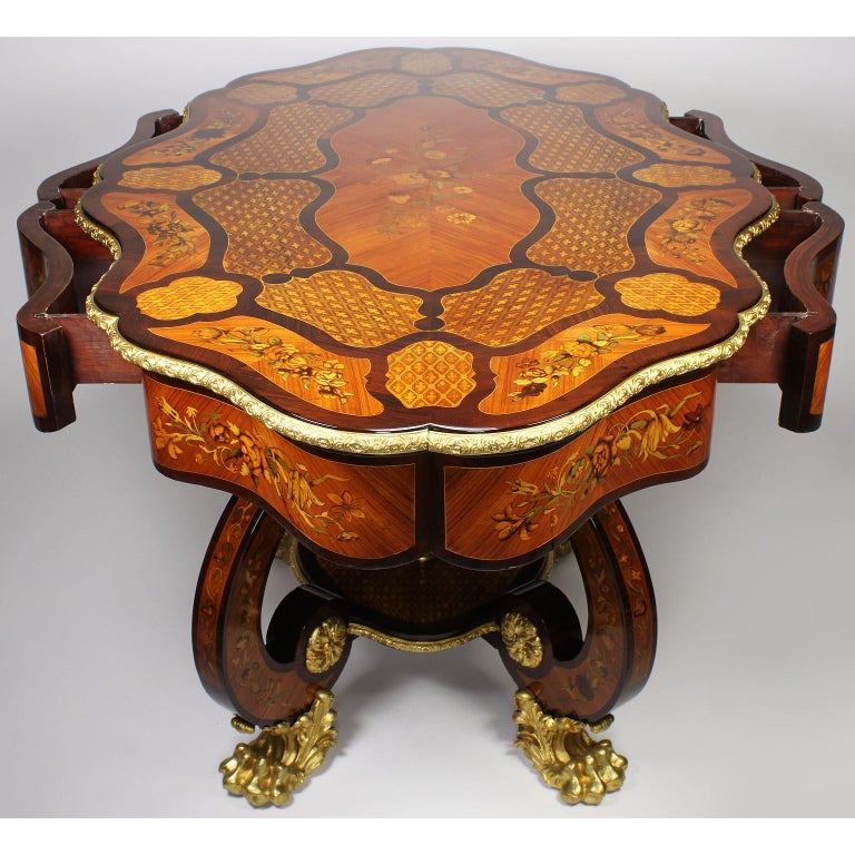 Fine Italian 19th Century Floral Marquetry Gilt Bronze-Mounted Center Table Desk For Sale 13