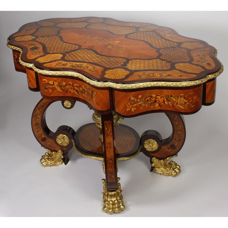 Baroque Fine Italian 19th Century Floral Marquetry Gilt Bronze-Mounted Center Table Desk For Sale