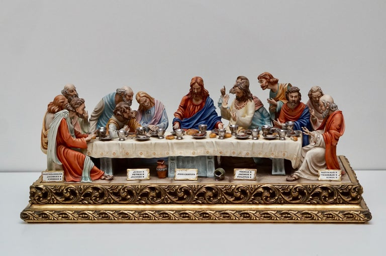 """The Last Supper"" is a limited edition, handmade and hand painted, collectible Capodimonte Italian porcelain by Italian artist, Germano Cortese."
