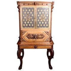 Fine Italian Carved Walnut Cocktail Cabinet