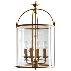 Fine Italian Louis XVI Style Gilded Brass and Crystal Four-Light Lantern