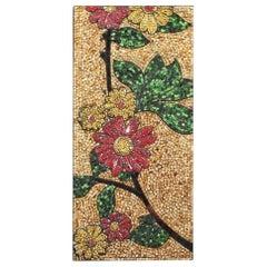 Fine Italian Micro-Mosaic Art Glass Floral Design Hanging Panel, circa 1950