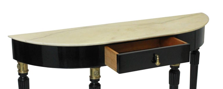 Fine Italian Midcentury Ebonized Marble Top Console In Good Condition In London, GB