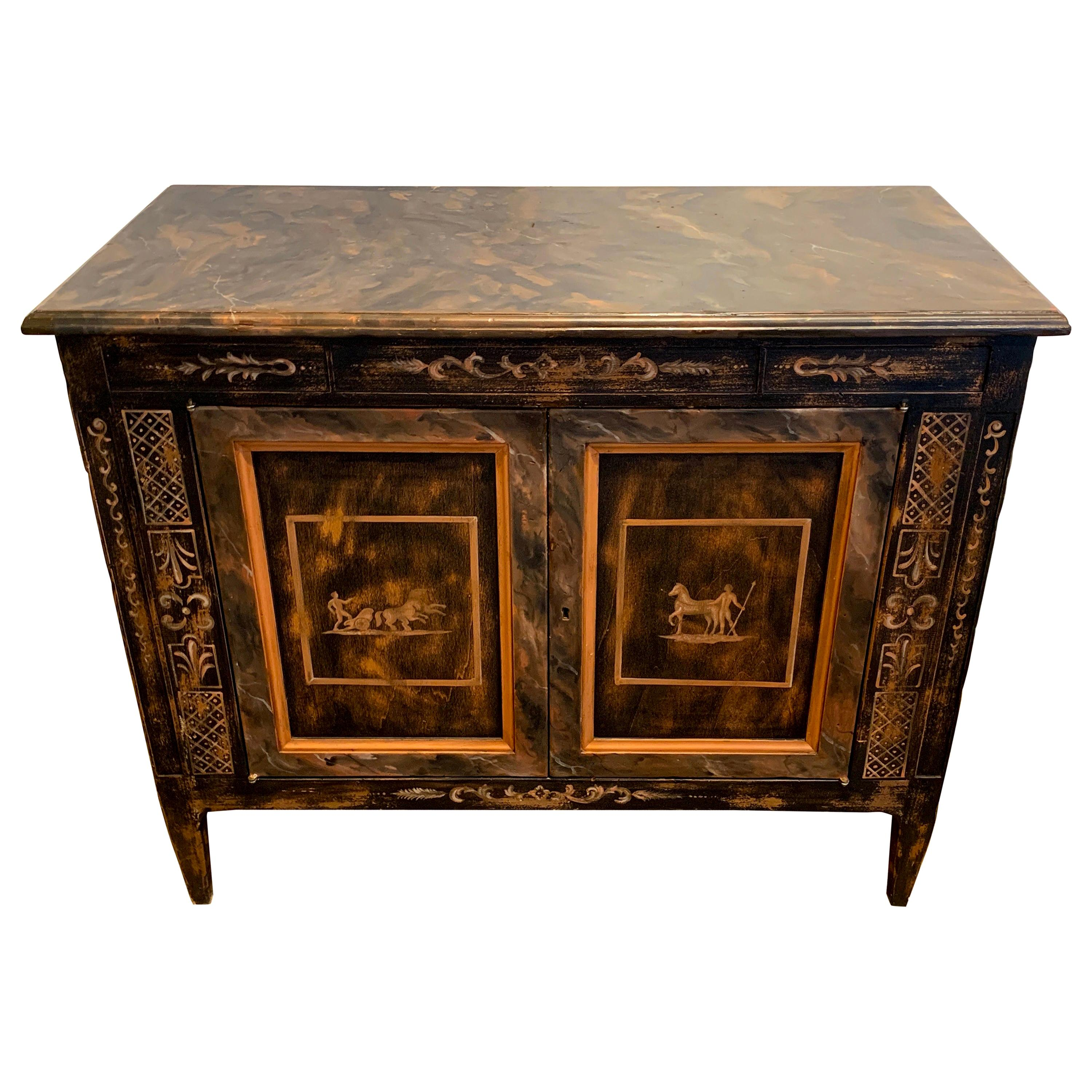 Fine Italian Neoclassical Painted Two-Door Commode