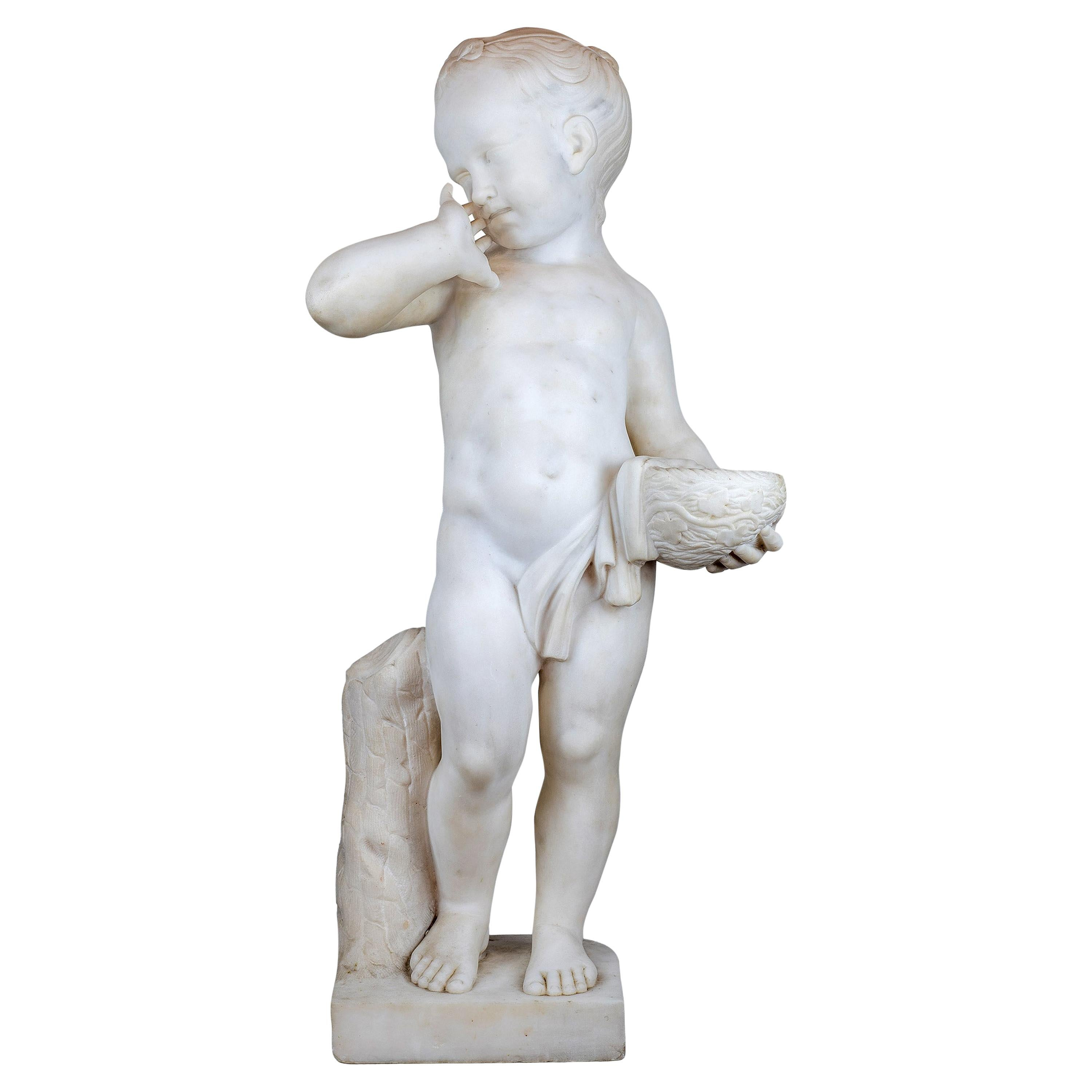 Fine Italian White Marble Statue of a Boy Holding a Nest