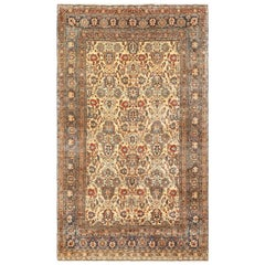 Fine Ivory Antique Persian Tabriz Rug. Size: 6 ft 5 in x 10 ft 5 in