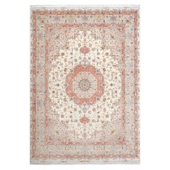 Fine Ivory Background Vintage Tabriz Persian Rug. Size: 9 ft 10 in x 13 ft 4 in