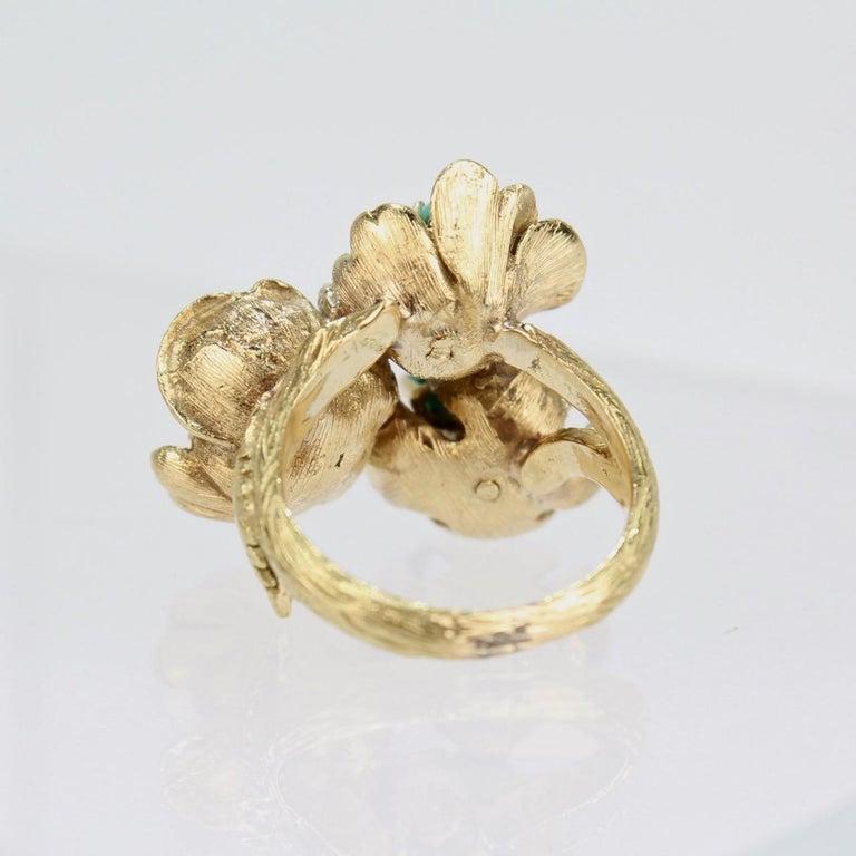 Fine J Rossi 18 Karat Gold and Turquoise Cluster Figural Flower Ring For Sale 5
