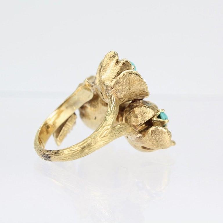 Fine J Rossi 18 Karat Gold and Turquoise Cluster Figural Flower Ring For Sale 6