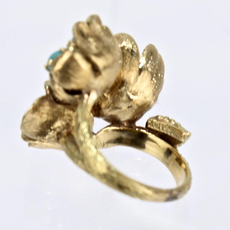 Fine J Rossi 18 Karat Gold and Turquoise Cluster Figural Flower Ring For Sale 9