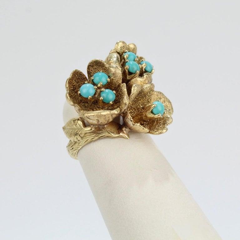 Modernist Fine J Rossi 18 Karat Gold and Turquoise Cluster Figural Flower Ring For Sale
