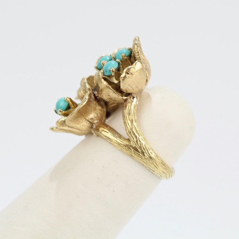 Women's Fine J Rossi 18 Karat Gold and Turquoise Cluster Figural Flower Ring For Sale