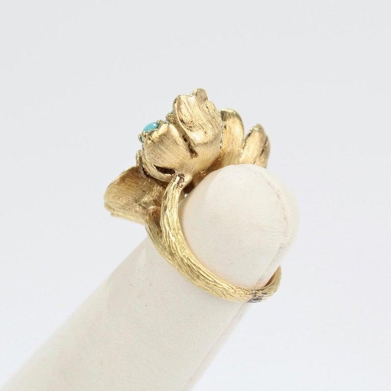 Fine J Rossi 18 Karat Gold and Turquoise Cluster Figural Flower Ring For Sale 1