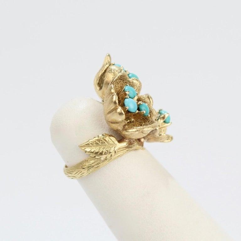 Fine J Rossi 18 Karat Gold and Turquoise Cluster Figural Flower Ring For Sale 3