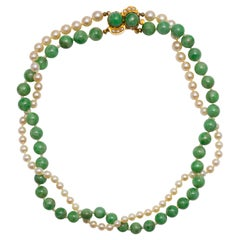 Fine Jade & Pearl Necklace Certified Untreated