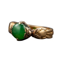 Fine Jade Ring in Gold with Dragons Chinese Antique Certified Untreated