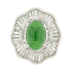 Fine Jadeite Jade Diamond Platinum Ballerina Ring, GIA Certified