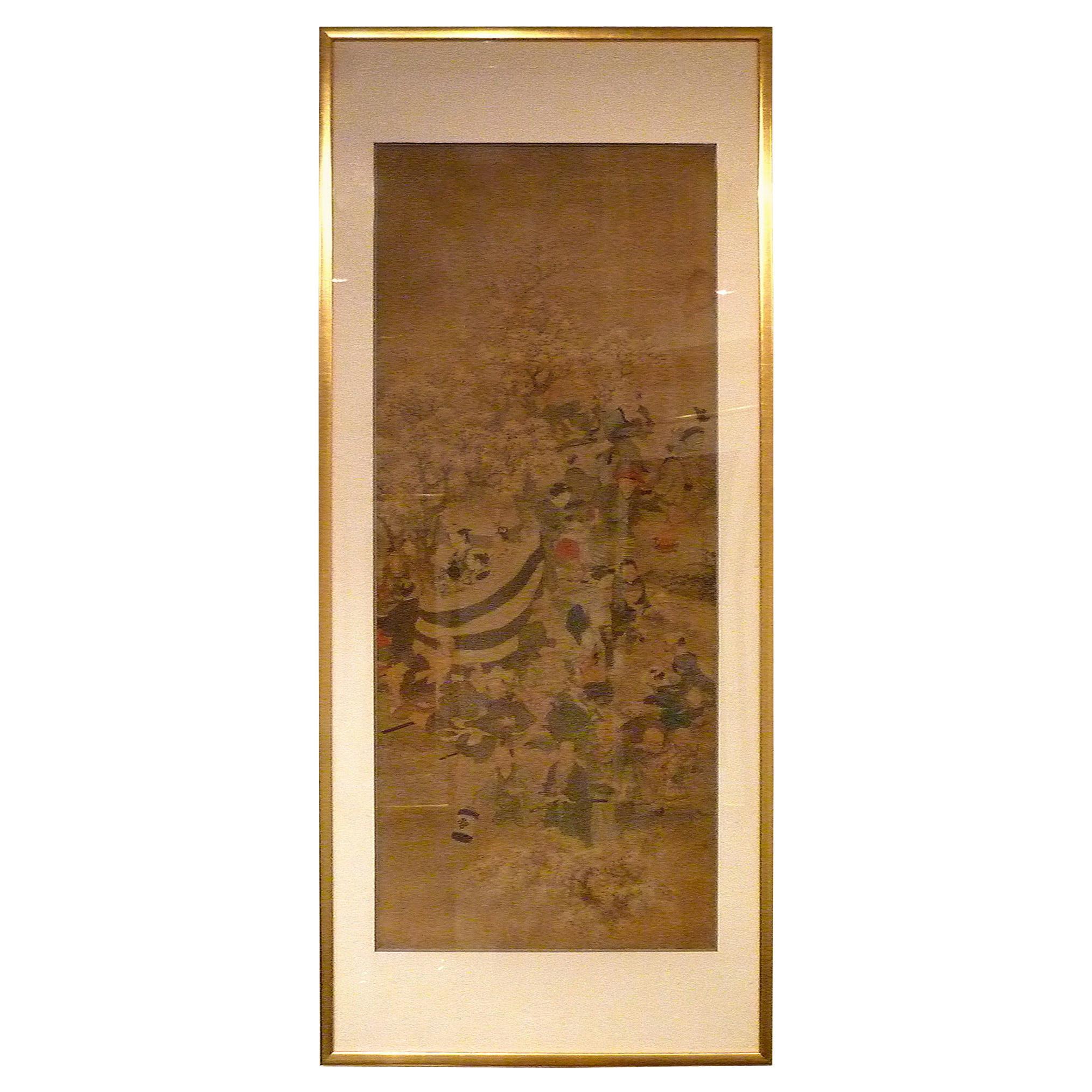 Fine Japanese Brush Painting of Cherry Blossom Festival
