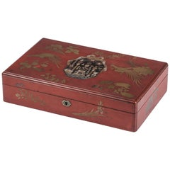 Fine Japanese Export Red Lacquer Box with Masonic Symbols, circa 1800