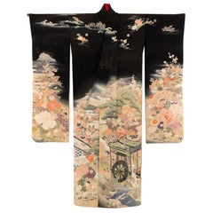 Fine Japanese Formal Black Silk Kimono with Yuzen Design