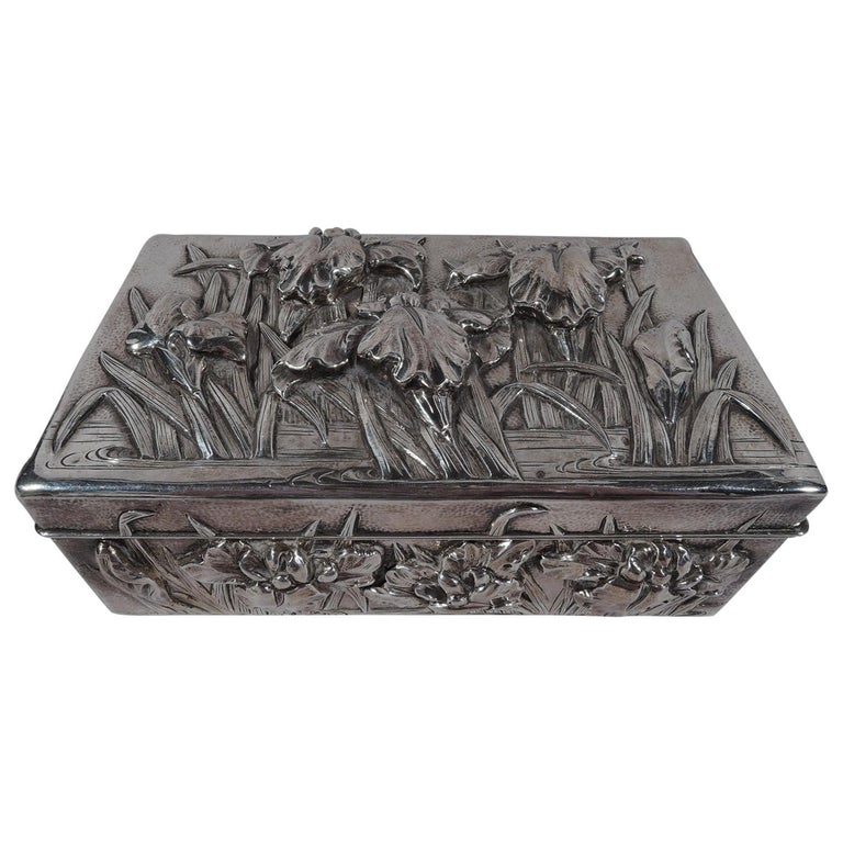 Fine Japanese Hand-Hammered Silver Box with Irises For Sale