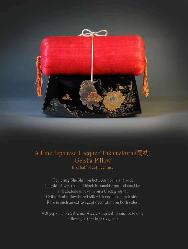 A fine Japanese lacquer Takamakura Geisha pillow, first half of the 20th century. Depicting Shi-Shi Lion between peony and rock in gold, silver, red and black hiramaki-e and takamaki-e and abalone umekomi (Embedded) on a black ground. Cylindrical