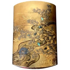 Fine Japanese Lacquered Inro with Inlays by Kajikawa