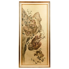 Fine Japanese Meiji Period Water Color on Silk of Monkeys