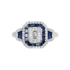 Fine Jewellery Blue Sapphire Diamond White Gold Ring
