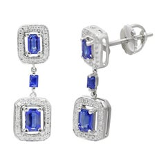 Fine Jewellery Blue Sapphire White Diamond White Gold Every Day Chic Earrings