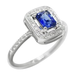 Fine Jewellery Blue Sapphire White Diamond White Gold Every Day Chic Ring