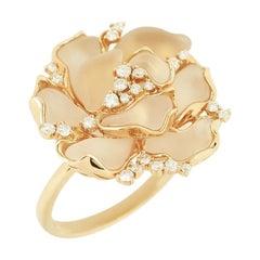 Fine Jewellery Rock Crystal Diamond Yellow Gold 18 Karat Ring