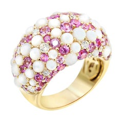 Fine Jewellry Pink Sapphire Diamond Nacre 18 Karat Yellow Gold Ring