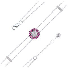 Fine Jewelry Ruby Pink Sapphire Diamond White Gold Bracelet